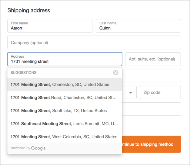 Shopify Plus Address Autocomplete