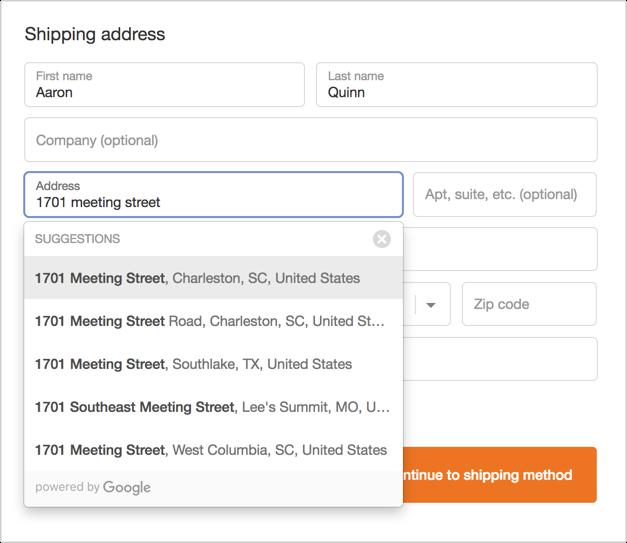 Shopify Plus Address Autocomplete