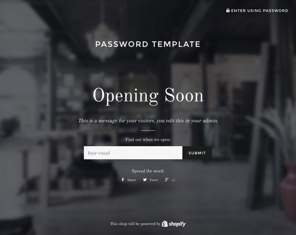 Example of a Shopify Password Page